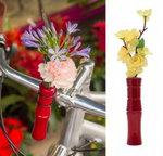 fietsvaas houten bloemenvaas rood