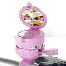 Fietsbel met spiegel roze