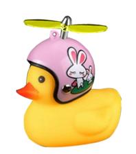 Bad eend met helm roze konijn fietslamp/toeter (met propeller)