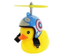 Bad eend met blauwe helm fietslamp/toeter (met propeller)