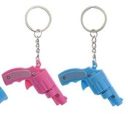 Sleutelhanger pistool roze met licht en geluid