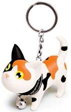 Sleutelhanger kat wit/zwart/oranje