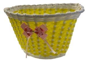Fietsmandje kind geel (met strik)