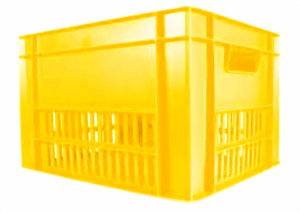 Fietskrat geel met bevestiging