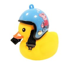 Badeend fietslamp/toeter blauwe helm met big