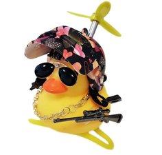 Badeend fietslamp/toeter gangster hartjes (met propeller)
