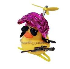 Badeend fietslamp/toeter gangster metallic roze (met propeller)