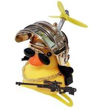 Badeend fietslamp/toeter gangster metallic goud (met propeller)