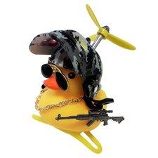 Badeend fietslamp/toeter gangster army (met propeller)
