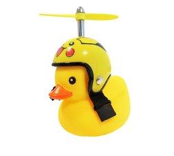 Badeend met gele helm fietslamp/toeter (met propeller)