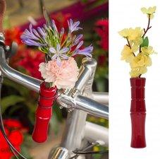 Vaasje voor fietsstuur bamboe rood
