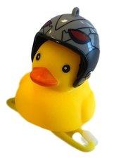 Badeend fietslamp/toeter zilveren helm