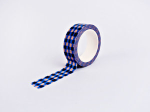The Completist Masking tape Blue brush check