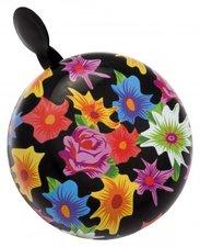 Fietsbel zwart met bloemen (6cm)