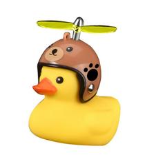 Bad eend met helm fietslamp/toeter bruine beer (met propeller)