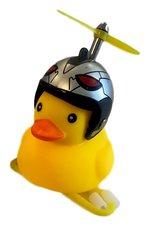 Badeend met helm zilver fietslamp/toeter (met propeller)