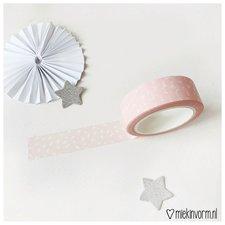 MIEKinvorm Masking tape lichtroze met witte vlekjes