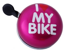 DingDong fietsbel I love my bike (roze) 8cm