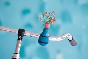 Fiets bloemenvaas blauw turquoise