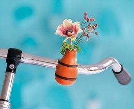 Fiets bloemenvaas oranje