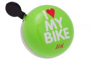 DingDong fietsbel I love my bike (groen) 6cm