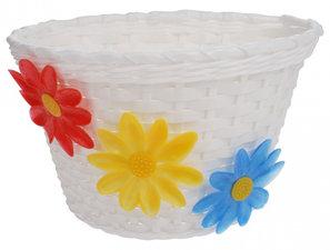Kinderfietsmandje wit met bloemen