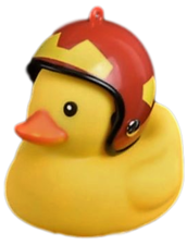 Bad eend met helm fietslamp/toeter rood met geel