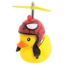 Bad eend met rode helm spinnenweb fietslamp/toeter (met propeller)