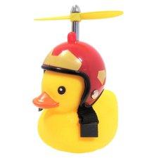Bad eend met rode helm fietslamp/toeter (met propeller)