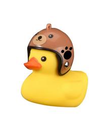 Bad eend met helm fietslamp/toeter bruine beer