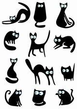 Fietsstickers zwarte speelse katten