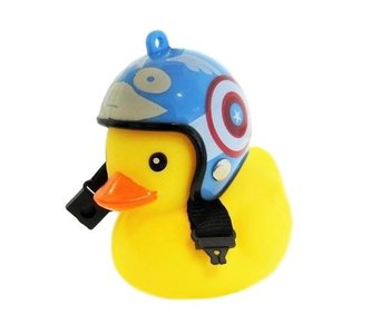 Badeend fietslamp/toeter blauwe helm
