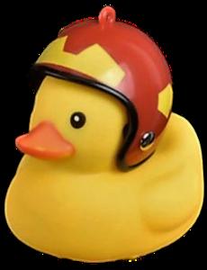 Badeend met helm fietslamp/toeter rood met geel