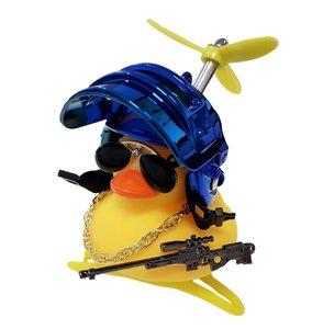 Badeend fietslamp/toeter gangster metallic blauw (met propeller)