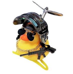 Badeend fietslamp/toeter gangster metallic grijs (met propeller)