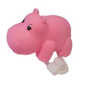 Roze nijlpaard fietslamp/fietstoeter