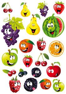 Fietsstickers fruit gezichtjes