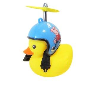 Bad eend met helm blauw met big fietslamp/toeter (met propeller)
